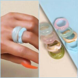 Neu 8 Teiliges Ringset Ring Mix Größen Pastelltöne rosa türkis creme beige   H36