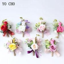 Wedding Flower Boutonniere Wrist Corsage Bridesmaid Rose Pink White Decorate