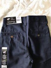 George Boy's 7 Slim Navy Straight Fit, Flat Front ,Adjustable Waist Pants.