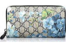 151ad36ecd49e5 Gucci Blooms Wallet Travel Black Zip Blooms Bloom Continental Blue Flower  Lg New