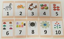 Numbers Flash Card Set - Educational Learning Picture & Word Cards 1-10