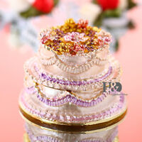 Pink Metal Crystal Cake shape Trinket Boxes Jewelry Flower Wedding Decor Gifts