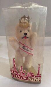 Vintage Berlin Souvenir Teddy Bear. Mohair Rare With Crown. Original Packaging.