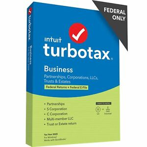 TurboTax Business 2020 Desktop Tax Software, Federal Return Only + Federal E-...