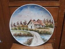 Piatto ceramica PANORAMA MONTAGNA dipinto a mano 1980 handpainted ceramic dish