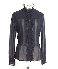 R.E.D. VALENTINO Top Ruffles and Lace Black Silk  8  mint