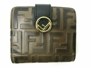 Authentic FENDI Zucca Compact Wallet 8M0386 Leather Brown Black 90862