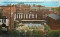 Savannah GA~Hotel De Soto Court~Pool and Minature Golf Course~1931 Postcard