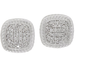 White Diamond 1/4 cttw Cushion Studs, Sterling by Affinity - QVC $175