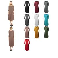 FashionOutfit Casual A-Line Swing Flare Round Neck 3/4 Sleeve Midi Dress (S-3XL)