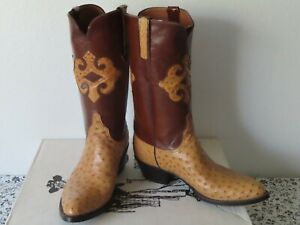 LUCCHESE BOOTS EXOTIC FULL QUILL OSTRICH 8.5 E COWBOY BOOTS