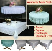 Table Cloth Cover Tablecloth Round Square Oval Rectangle Plastic Lace Pattern