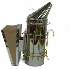 New Large Bee Hive Smoker Stainless Steel W/Heat Shield Beekeeping Equipment By
