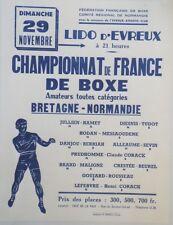 """""""CHAMPIONNAT de FRANCE de BOXE EVREUX 1959"""" Affiche originale entoilée 55x69cm"""