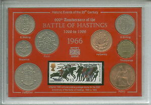 Battle of Hastings King Harold & William The Conqueror Coin Stamp Set 1066-1966
