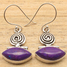 PURPLE COPPER TURQUOISE Marquise Gems Tribal Design Earrings ! 925 Silver Plated