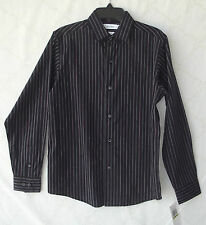 Calvin Klein Black/Burgundy Boys Slim Fit 100% Cotton Shirt 14 Reg NWT B5241