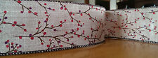 2 metres - 63MM wide Burlap Ribbon DIY with Cherry Blossom for New Year Party