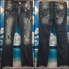Silver Jeans Distressed Frayed Hem Hustler Hippie actual size W31 x L34