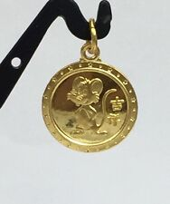Zodiac 24K Solid Yellow Gold Animal Sign Round Mouse Charm/ Pendant. 1.88 Grams