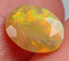 1Ct Natural Ethiopian Yellow Brown Opal Faceted Cut Play Of Color QOY139