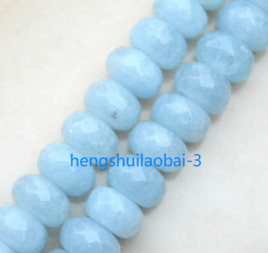 New 5x8mm blue sapphire abacus faceted gemstone loose beads 15 inches