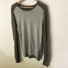 All Saints Grey Brown Thin Knit Cotton Crew Neck Sweater Blokk Small 40 Chest