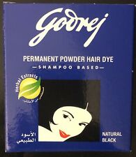 Godrej Permanent Powder Hair Dye Herbal Extracts Natural Black (9g)FREE SHIPPING