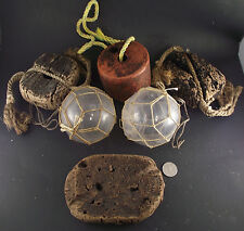 COLLECTION ANTIQUE GLASS FISHING FLOATS FOAM FLAT CORK FLOATS INSTANT DECOR