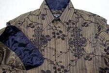 FENDER SALVATION MENS SMALL FLORAL STRIPE LONG SLEEVE STUDDED BUTTON DOWN