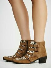 Free People Ranger Ankle Boot Tan Woven detailing Suede Cow Fur Size 37 $198