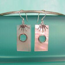"""1 1/4"""" White Mother of Pearl Shell Handmade 925 Sterling Silver Dangle Earrings"""