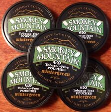 5 Cans Smokey Mountain WINTERGREEN POUCHES Herbal Snuff -Tobacco & Nicotine Free