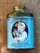 Vintage Colgate's Baby Talc Tin Can Sample, Tin with Baby, blue w content
