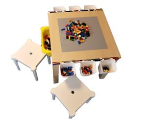 Lego Spieltisch, Lego Platte, Aufbewahrung Box  Und 2 Kinder-Hocker Brandneu