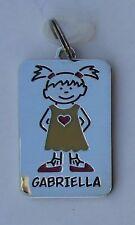 Gabriella NAME CHARM dog tag pendant zipper pull key chain flair ganz