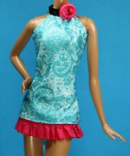 Sparkle Girlz Blue Pink Black Print Halter Dress fits Barbie Model Muse Doll