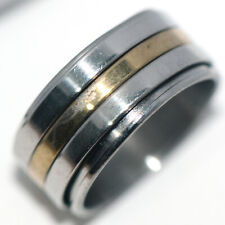 Gold Stainless Steel Fashion Size 8 Big Mens Womens Jewelry Band Spinner Rings