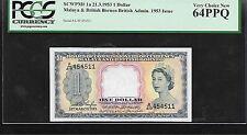 Malaya & British Borneo  1953  1 Dollar  PCGS 64 graded UNC