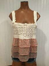 American Eagle Outfitters Pink Floral Ruffle and Lace Tank Top Size M