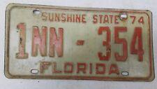 1974 FLORIDA Sunshine State Dade County Rental Trailer License Plate 1NN-354