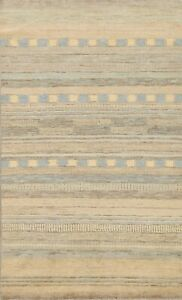 Contemporary Geometric Gabbeh Oriental Area Rug Hand-Knotted Wool Carpet 6x8 New