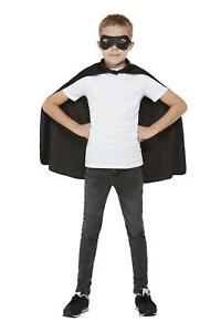 Schwarz Umhang & Augenmaske Super Hero Kinder Kostüm Kostüm Welttag des Buches