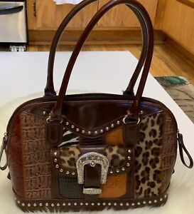 Western Style fur & faux Leather Silver Studded satchel Tooled Purse 2 handle