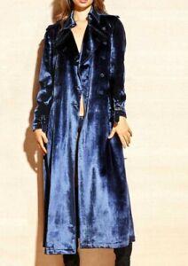 New $1,660 Fleur du Mal Velvet Blue Dress Belted Trench Coat Jacket IT 40 / US 4
