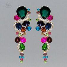 18K Gold Plated Multi-Color Crystal Rhinestone Wedding Drop Dangle Earrings 5615