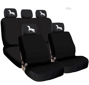 For KIA New Black Flat Cloth Car Truck Seat Covers and Unicorn Headrest Cover