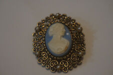 Vintage JJ Cameo Pin W Blue Background And Filagree Border Brooch/Pin    14