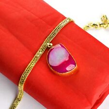 Natural Pink Druzy Gemstone Chain Bracelet With Attractive Gold Plating Jewelry