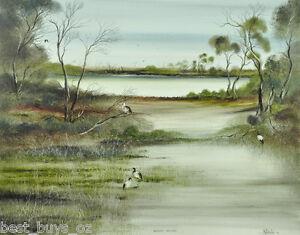 """Large Robert Taylor Oil Painting """"Backwater Sanctuary""""40cm x 50cm"""